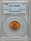 Lincoln Cents: , 1930 1C MS66 Red PCGS. PCGS Population (970/78). NGC Census:(1200/256). Mintage: 157,415,008. Numismedia Wsl. Price for pr...