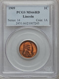 Lincoln Cents: , 1909 1C MS66 Red PCGS. PCGS Population (493/65). NGC Census:(170/5). Mintage: 72,702,616. Numismedia Wsl. Price for proble...