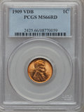 Lincoln Cents: , 1909 VDB 1C MS66 Red PCGS. PCGS Population (2021/220). NGC Census:(1442/106). Mintage: 27,995,000. Numismedia Wsl. Price f...