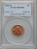Lincoln Cents: , 1932-D 1C MS65 Red PCGS. PCGS Population (438/201). NGC Census:(110/93). Mintage: 10,500,000. Numismedia Wsl. Price for pr...