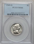 Jefferson Nickels: , 1969-D 5C MS66 PCGS. PCGS Population (54/0). NGC Census: (193/15).Mintage: 202,807,504. Numismedia Wsl. Price for problem ...