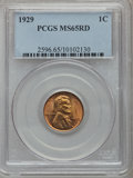Lincoln Cents: , 1929 1C MS65 Red PCGS. PCGS Population (517/450). NGC Census:(277/234). Mintage: 185,262,000. Numismedia Wsl. Price for pr...