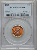 Lincoln Cents: , 1935 1C MS67 Red PCGS. PCGS Population (432/5). NGC Census:(454/0). Mintage: 245,388,000. Numismedia Wsl. Price for proble...