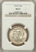 Walking Liberty Half Dollars: , 1943-D 50C MS67 NGC. NGC Census: (302/4). PCGS Population (256/2).Mintage: 11,346,000. Numismedia Wsl. Price for problem f...