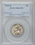 Jefferson Nickels: , 1943-D 5C MS67 Full Steps PCGS. PCGS Population (296/3). NGCCensus: (160/0). Numismedia Wsl. Price for problem free NGC/P...