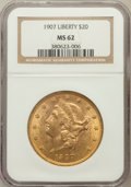 Liberty Double Eagles: , 1907 $20 MS62 NGC. NGC Census: (13236/7194). PCGS Population(9744/5178). Mintage: 1,451,864. Numismedia Wsl. Price for pro...