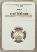 Barber Dimes: , 1911 10C MS65 NGC. NGC Census: (134/56). PCGS Population (127/91).Mintage: 18,870,543. Numismedia Wsl. Price for problem f...