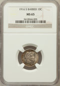 Barber Dimes: , 1916-S 10C MS65 NGC. NGC Census: (37/25). PCGS Population (31/11).Mintage: 5,820,000. Numismedia Wsl. Price for problem fr...