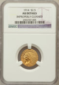 Indian Quarter Eagles, 1914 $2 1/2 -- Improperly Cleaned -- NGC Details. AU. NGC Census:(20/7345). PCGS Population (97/3465). Mintage: 240,00...