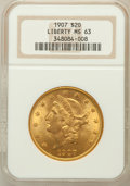 Liberty Double Eagles: , 1907 $20 MS63 NGC. NGC Census: (6515/679). PCGS Population(4315/863). Mintage: 1,451,864. Numismedia Wsl. Price for proble...