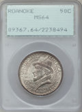 Commemorative Silver: , 1937 50C Roanoke MS64 PCGS. PCGS Population (1696/3632). NGCCensus: (765/2685). Mintage: 29,030. Numismedia Wsl. Price for...