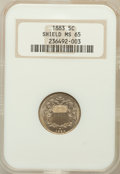 Shield Nickels: , 1883 5C MS65 NGC. NGC Census: (265/105). PCGS Population (207/118).Mintage: 1,456,919. Numismedia Wsl. Price for problem f...