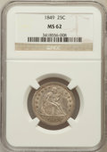 Seated Quarters: , 1849 25C MS62 NGC. NGC Census: (4/14). PCGS Population (7/14).Mintage: 340,000. Numismedia Wsl. Price for problem free NGC...
