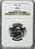 Proof Washington Quarters: , 1942 25C PR65 NGC. NGC Census: (623/929). PCGS Population(1313/1123). Mintage: 21,123. Numismedia Wsl. Price for problemf...