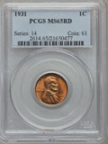 Lincoln Cents: , 1931 1C MS65 Red PCGS. PCGS Population (604/265). NGC Census:(143/110). Mintage: 19,396,000. Numismedia Wsl. Price for pro...
