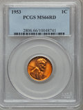 Lincoln Cents: , 1953 1C MS66 Red PCGS. PCGS Population (320/3). NGC Census:(582/22). Mintage: 256,883,808. Numismedia Wsl. Price for probl...