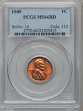 Lincoln Cents: , 1949 1C MS66 Red PCGS. PCGS Population (343/8). NGC Census:(495/36). Mintage: 217,775,008. Numismedia Wsl. Price for probl...