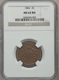 Two Cent Pieces: , 1866 2C MS62 Brown NGC. NGC Census: (27/146). PCGS Population(28/88). Mintage: 3,177,000. Numismedia Wsl. Price for proble...