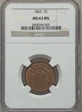 Two Cent Pieces: , 1865 2C MS63 Brown NGC. NGC Census: (182/524). PCGS Population(232/233). Mintage: 13,640,000. Numismedia Wsl. Price for pr...