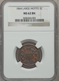 Two Cent Pieces: , 1864 2C Large Motto MS62 Brown NGC. NGC Census: (199/1084). PCGSPopulation (119/649). Mintage: 19,847,500. Numismedia Wsl....
