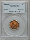 Lincoln Cents: , 1939-D 1C MS67 Red PCGS. PCGS Population (396/8). NGC Census:(538/0). Mintage: 15,160,000. Numismedia Wsl. Price for probl...