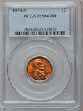 Lincoln Cents, (4)1955-S 1C MS66 Red PCGS. ... (Total: 4 coins)