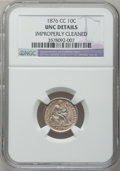 Seated Dimes: , 1876-CC 10C -- Improperly Cleaned -- NGC Details. UNC. NGC Census:(2/234). PCGS Population (3/220). Mintage: 8,270,000. Nu...