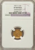 Gold Dollars, 1857-C G$1 -- Damage -- NGC Details. XF. NGC Census: (5/112). PCGSPopulation (27/95). Mintage: 13,200. Numismedia Wsl....
