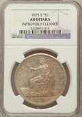 Trade Dollars, 1875-S T$1 -- Improperly Cleaned -- NGC Details. AU. NGC Census:(7/849). PCGS Population (34/1050). Mintage: 4,487,000...