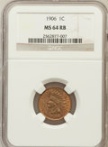 Indian Cents: , 1906 1C MS64 Red and Brown NGC. NGC Census: (364/192). PCGSPopulation (539/116). Mintage: 96,022,256. Numismedia Wsl. Pric...