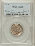 Buffalo Nickels: , 1916 5C MS63 PCGS. PCGS Population (535/1625). NGC Census:(334/1120). Mintage: 63,498,064. Numismedia Wsl. Price for probl...