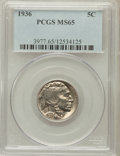 Buffalo Nickels: , 1936 5C MS65 PCGS. PCGS Population (2139/1239). NGC Census:(912/1116). Mintage: 119,001,424. Numismedia Wsl. Price for pro...