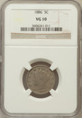 Liberty Nickels: , 1886 5C VG10 NGC. NGC Census: (27/351). PCGS Population (42/638).Mintage: 3,330,290. Numismedia Wsl. Price for problem fre...