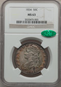 Bust Half Dollars, 1834 50C Small Date, Small Letters MS63 NGC. CAC. O-111, R.1....