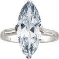 Estate Jewelry:Rings, Art Deco Natural Fancy Blue Diamond, Diamond, Platinum Ring, J.E.Caldwell. ...