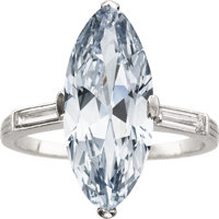 Art Deco Natural Fancy Blue Diamond, Diamond, Platinum Ring, J.E. Caldwell