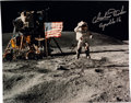Autographs:Celebrities, Apollo 16 Moonwalkers: Color Photo Signed....