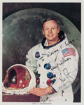 Autographs:Celebrities, Neil Armstrong Signed White Spacesuit Color Photo. ... (Total: 2 Items)