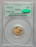 Commemorative Gold, 1915-S G$1 Panama-Pacific Gold Dollar MS66 PCGS. CAC....