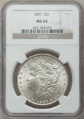 Morgan Dollars: , 1897 $1 MS63 NGC. NGC Census: (4225/7548). PCGS Population(4857/6661). Mintage: 2,822,731. Numismedia Wsl. Price for probl...