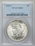 Peace Dollars: , 1926-S $1 MS63 PCGS. PCGS Population (2235/2671). NGC Census:(1469/2182). Mintage: 6,980,000. Numismedia Wsl. Price for pr...