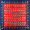 "Luxury Accessories:Accessories, Hermes Red & Navy ""Les Artificiers,"" by Michel Duchene SilkScarf. ..."