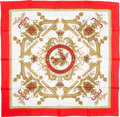 "Luxury Accessories:Accessories, Hermes Red, White & Gold ""Deo Juvante Monaco,"" Silk Scarf. ..."