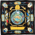 "Luxury Accessories:Accessories, Hermes Black & Gold ""Le Geographe,"" by Sandra Laroche Silk Jacquard Weave Scarf. ..."