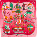 "Luxury Accessories:Accessories, Hermes Pink & Green ""Les Folies du Ciel,"" by Loic Dubigeon SilkScarf. ..."