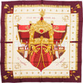 "Luxury Accessories:Accessories, Hermes Red, White & Gold ""Vue du Carrosse de la Galere laReale,"" by Hugo Grygkar Silk Scarf. ..."