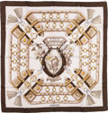 "Luxury Accessories:Accessories, Hermes Olive, White & Gold ""Aux Champs,"" by Caty Latham Silk Scarf. ..."