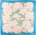 "Luxury Accessories:Accessories, Hermes Pink & Blue ""Les Pivoines,"" by Christiane Vauzelles SilkScarf. ..."