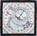 "Luxury Accessories:Accessories, Hermes Black, Gray & White ""Mecanique du Temps,"" by LoicDubigeon Silk Scarf. ..."