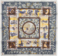 "Luxury Accessories:Accessories, Hermes Teal, Gray & Gold ""Musique des Dieux,"" by ClaudiaStuhlhofer-Mayr Silk Scarf. ..."